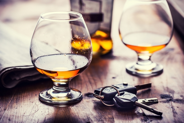 cognac or brandy and car keys